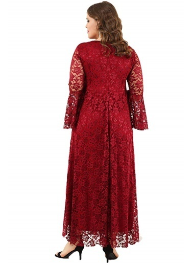 Angelino Butik Büyük Beden Kolları Volanlı Dantel Elbise DD791 Bordo
